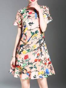Flounce Sleeve Flowers Print Dress