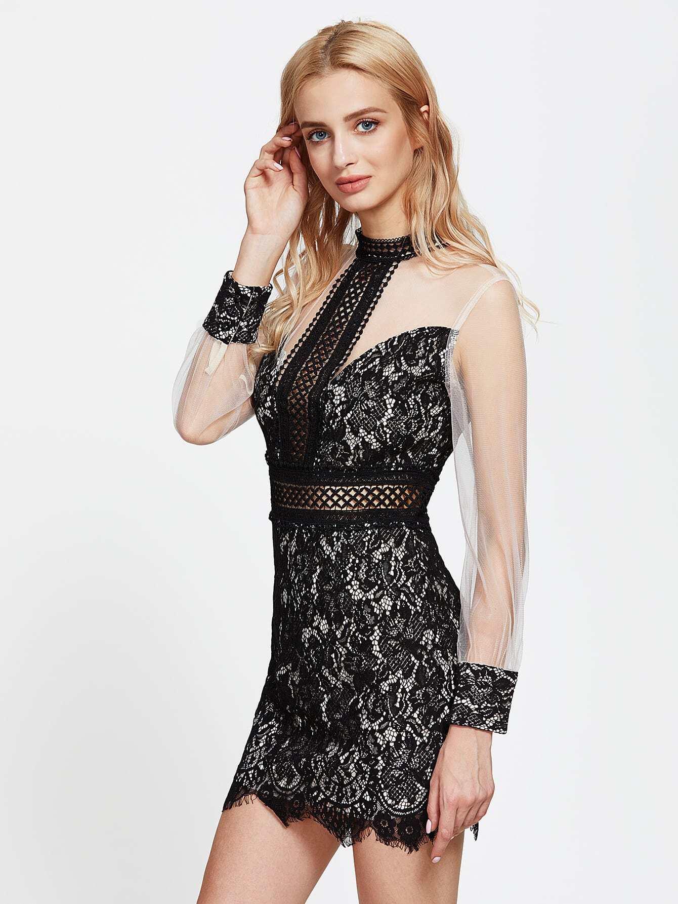 Фото Contrast Mesh Sheer Lace Dress. Купить с доставкой