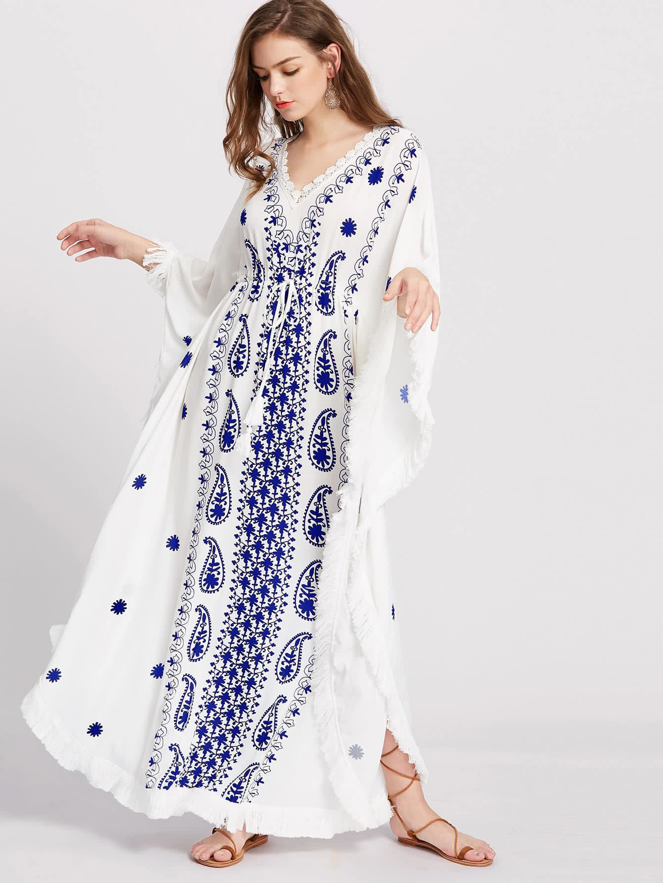 Fringe Trim Paisley Print Dolman Sleeve Dress paisley print fringe trim kimono