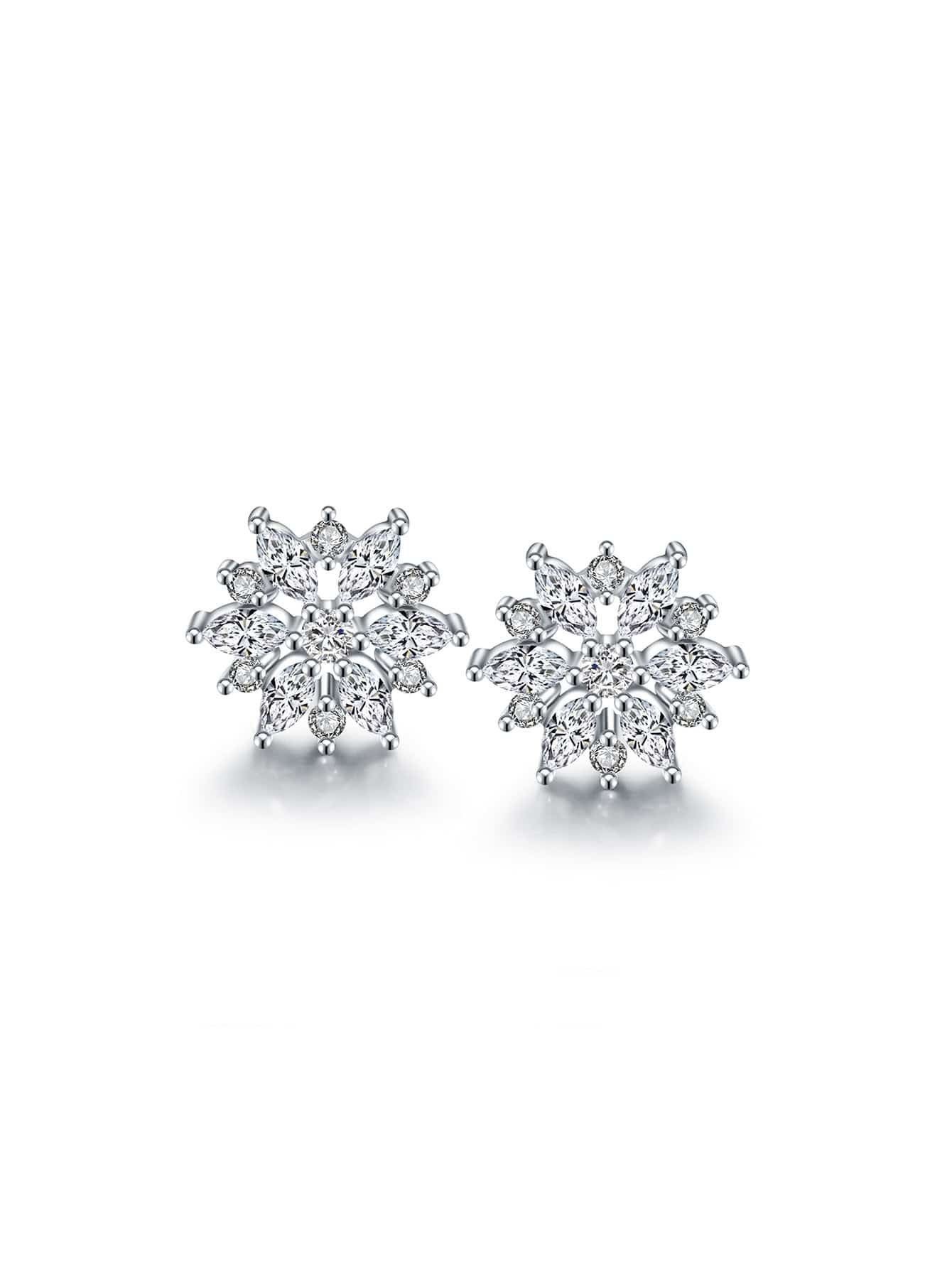 rhinestone snowflake design stud earrings shein sheinside