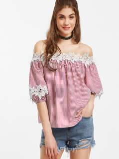 Vertical Striped Off Shoulder Lace Applique Blouse