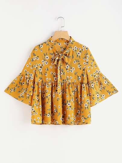 Bow Neck Layered Bell Sleeve Botanical Top