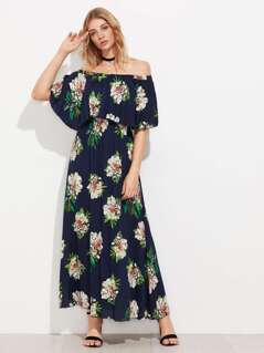 Flounce Bardot Elastic Waist Dress