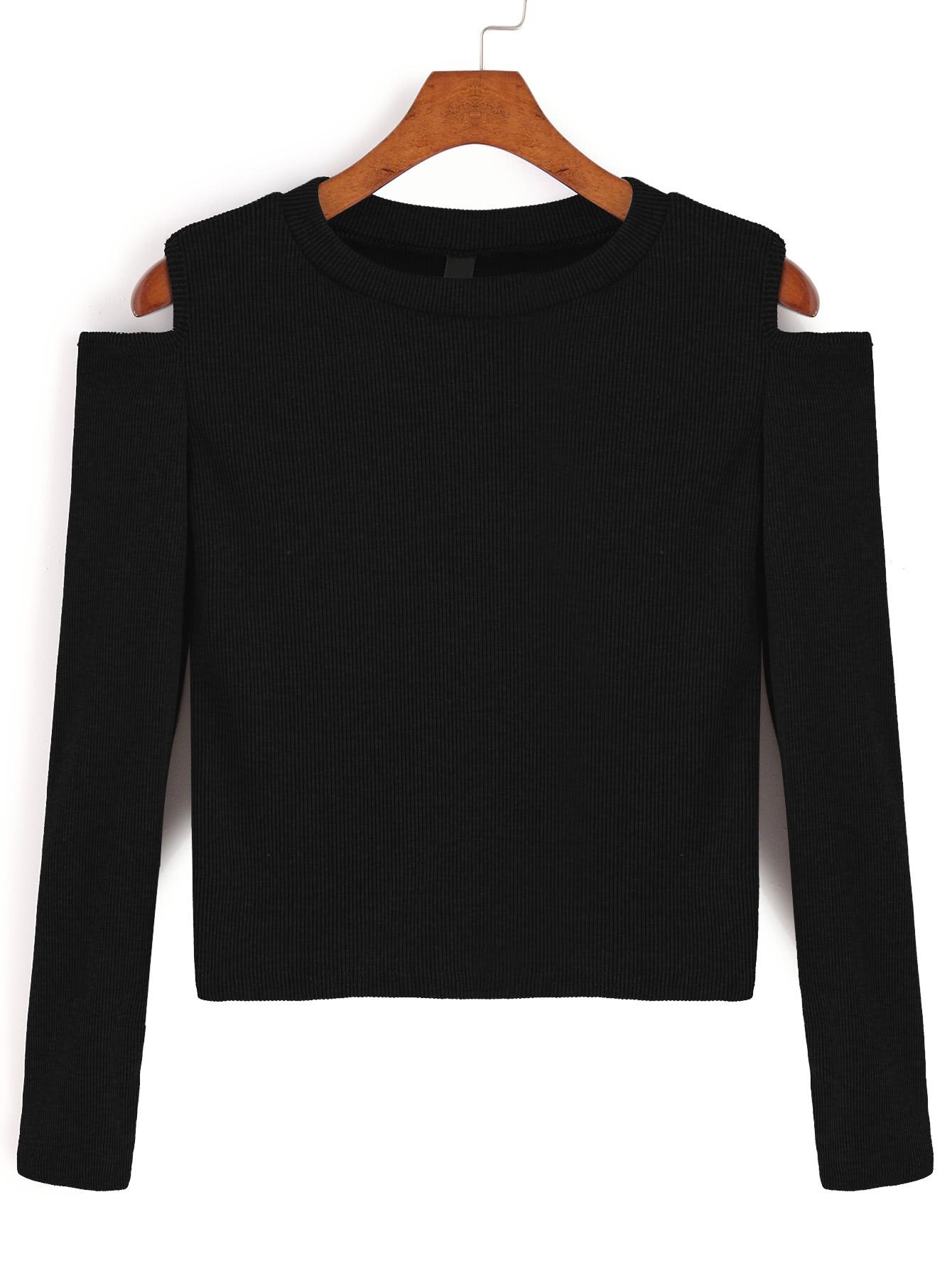 Фото Black Open Shoulder Crop T-shirt. Купить с доставкой