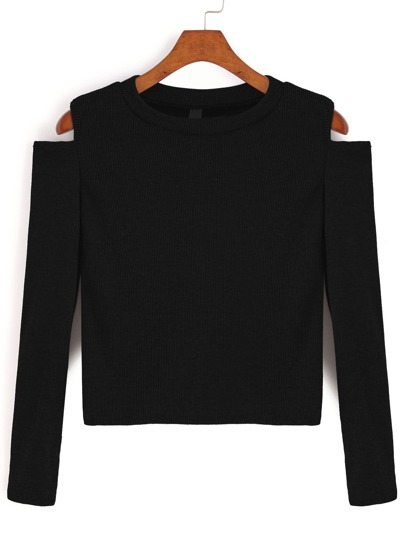 Black Open Shoulder Crop T-shirt
