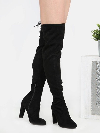Almond Toe Thigh High Tie Back Boots BLACK