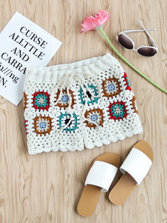 Drawstring Waist Hollow Out Granny Square Crochet Shorts