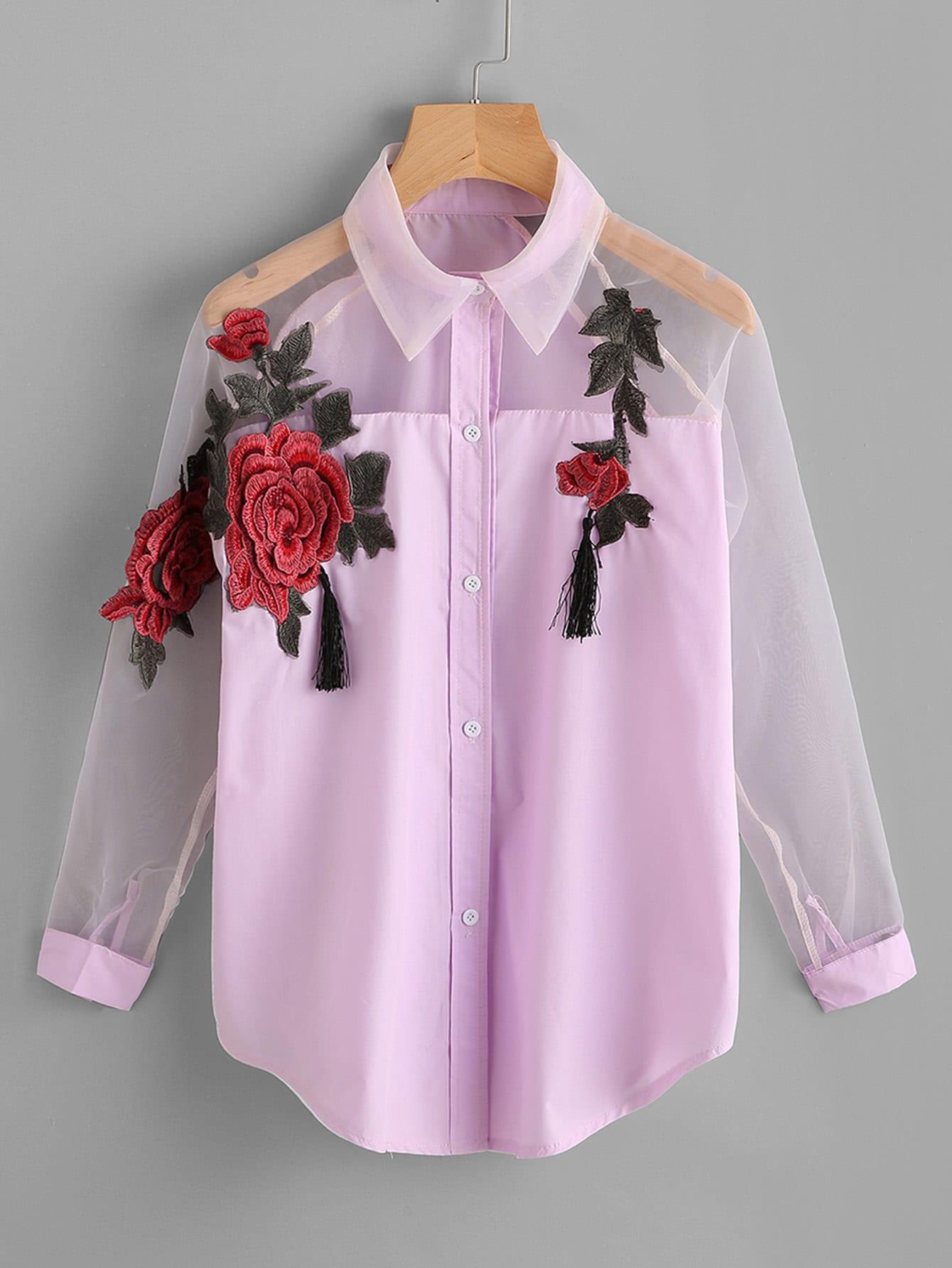 Фото Embroidered Appliques Tassel Detail Shirt With Sheer Mesh Panel. Купить с доставкой