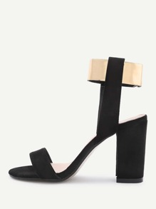 Sandalias de tacón cuadrado en dos tonos