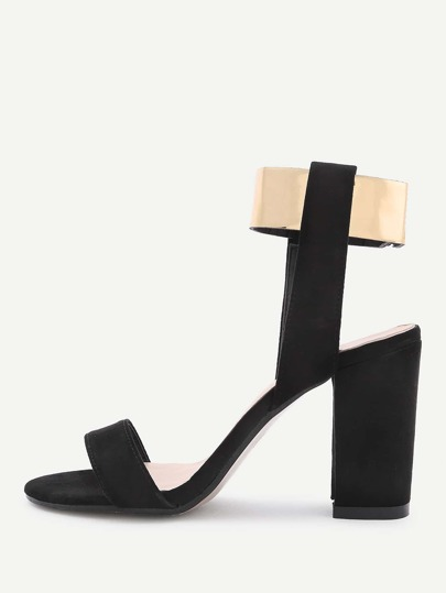Two Tone Block Heeled Sandals