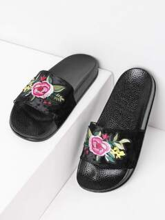 Velvet Floral Patch Slides BLACK