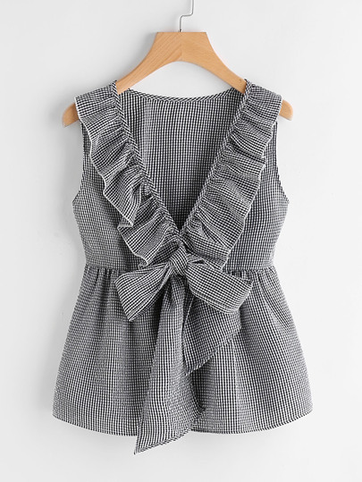 Flounce Trim Plunging Bow Neck Shell Top