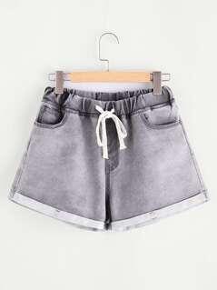 Drawstring Waist Cuffed Bleach Wash Denim Shorts