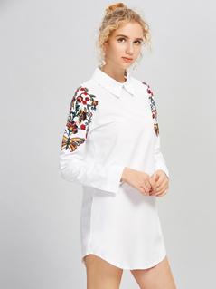 Shoulder Embroidery Shirt Dress