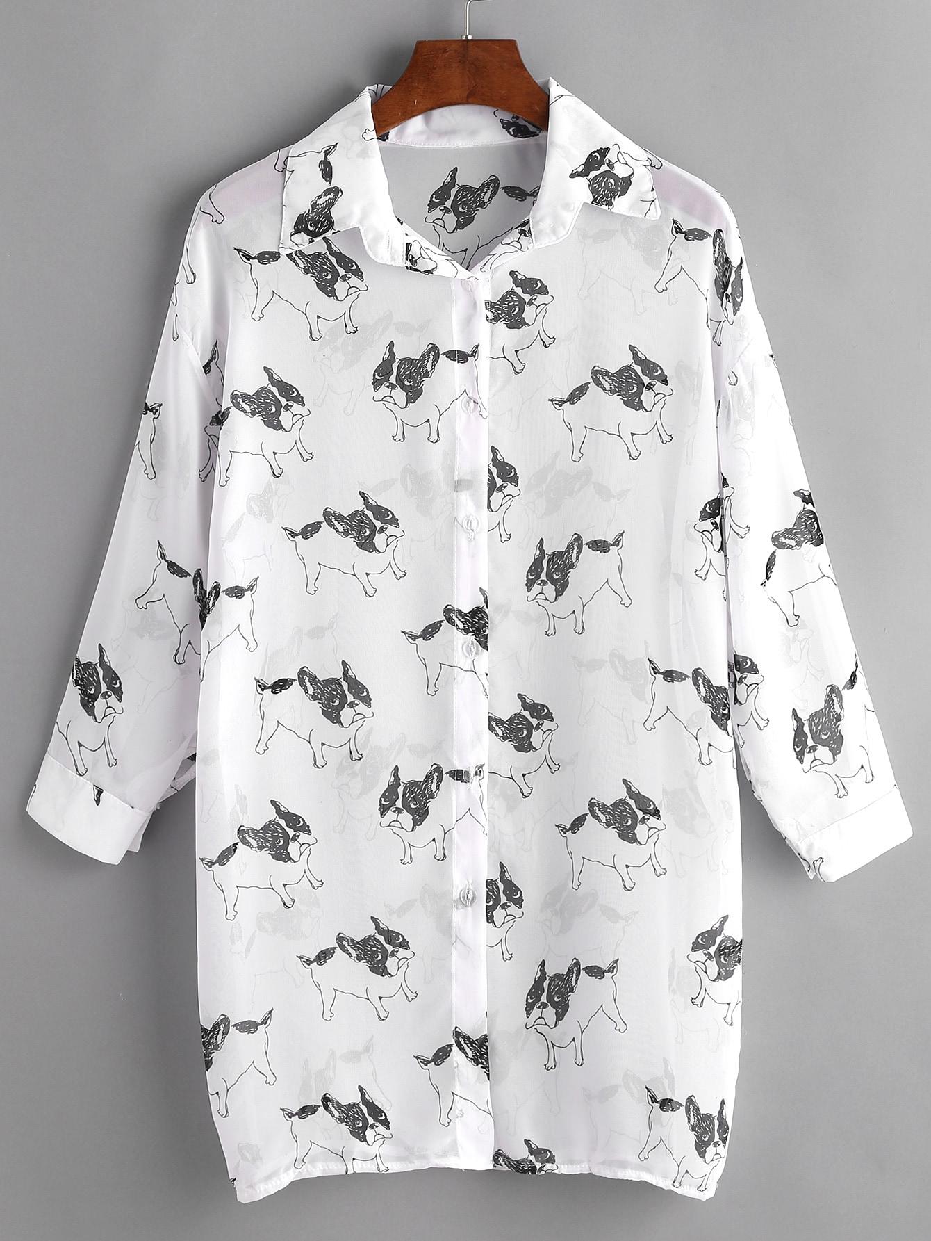 Фото Bulldog Print Drop Shoulder Chiffon Shirt Dress. Купить с доставкой