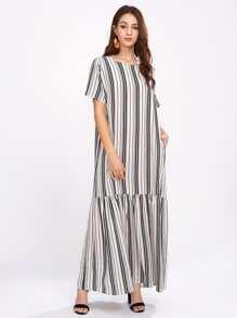 Vertical Striped Drop Waist Full Length Dress