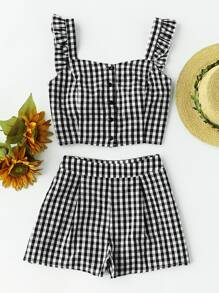 Ruffle Strap Checkered Pinafore Top And Shorts Set