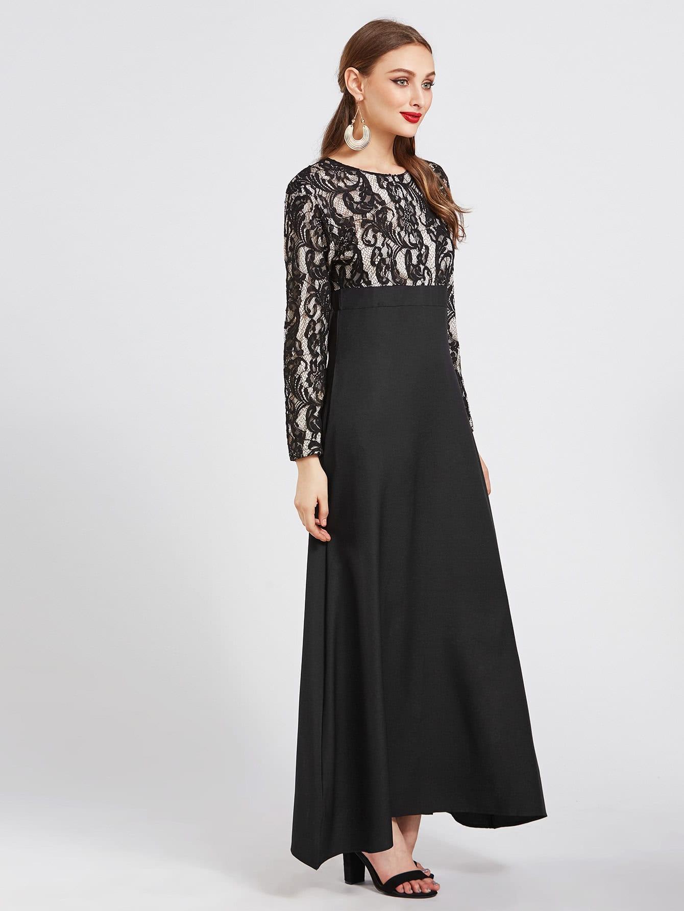 Фото Contrast Lace Overlay Combo Kaftan Dress. Купить с доставкой