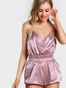 Plunging Strappy Surplice Front Romper