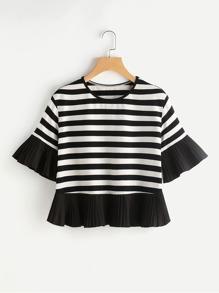 Pleated Frill Trim Striped T-shirt