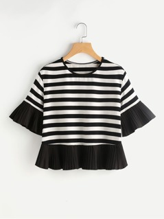 Pleated Frill Trim Striped T-shirt