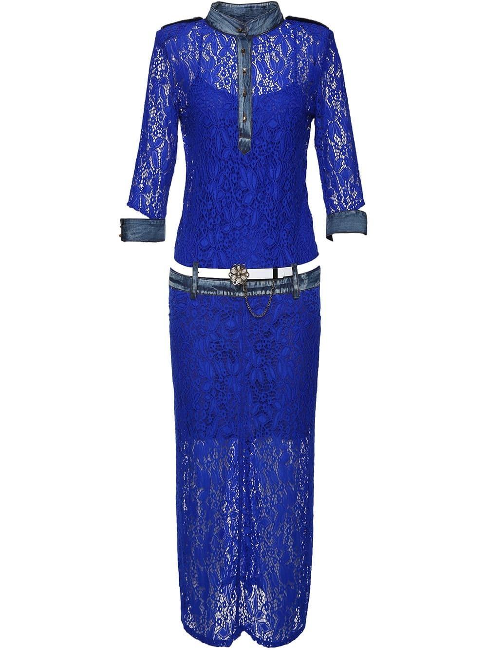 Фото Crew Neck Belted Lace Combo Dress. Купить с доставкой