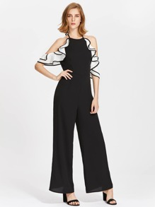 Culotte Jumpsuit With Contrast Frilled Draped Sleeve