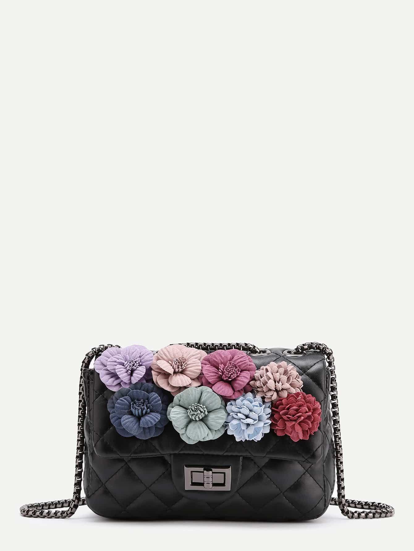 Фото Flower Embellished Quilted Chain Bag. Купить с доставкой