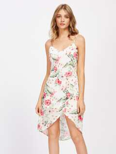 Cami Straps Tropical Print Overlap Dress