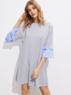 Heather Knit Tee Dress With Striped Bell Cuff