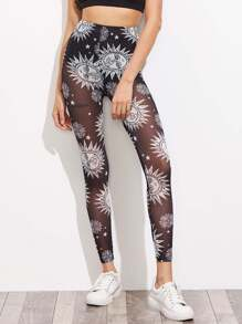 Mandala Sun Print Sheer Leggings