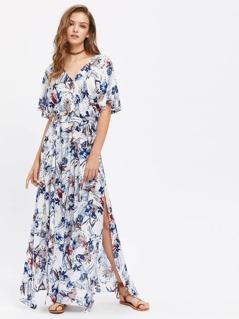 Split Sleeve Tropical Print Kimono Dress