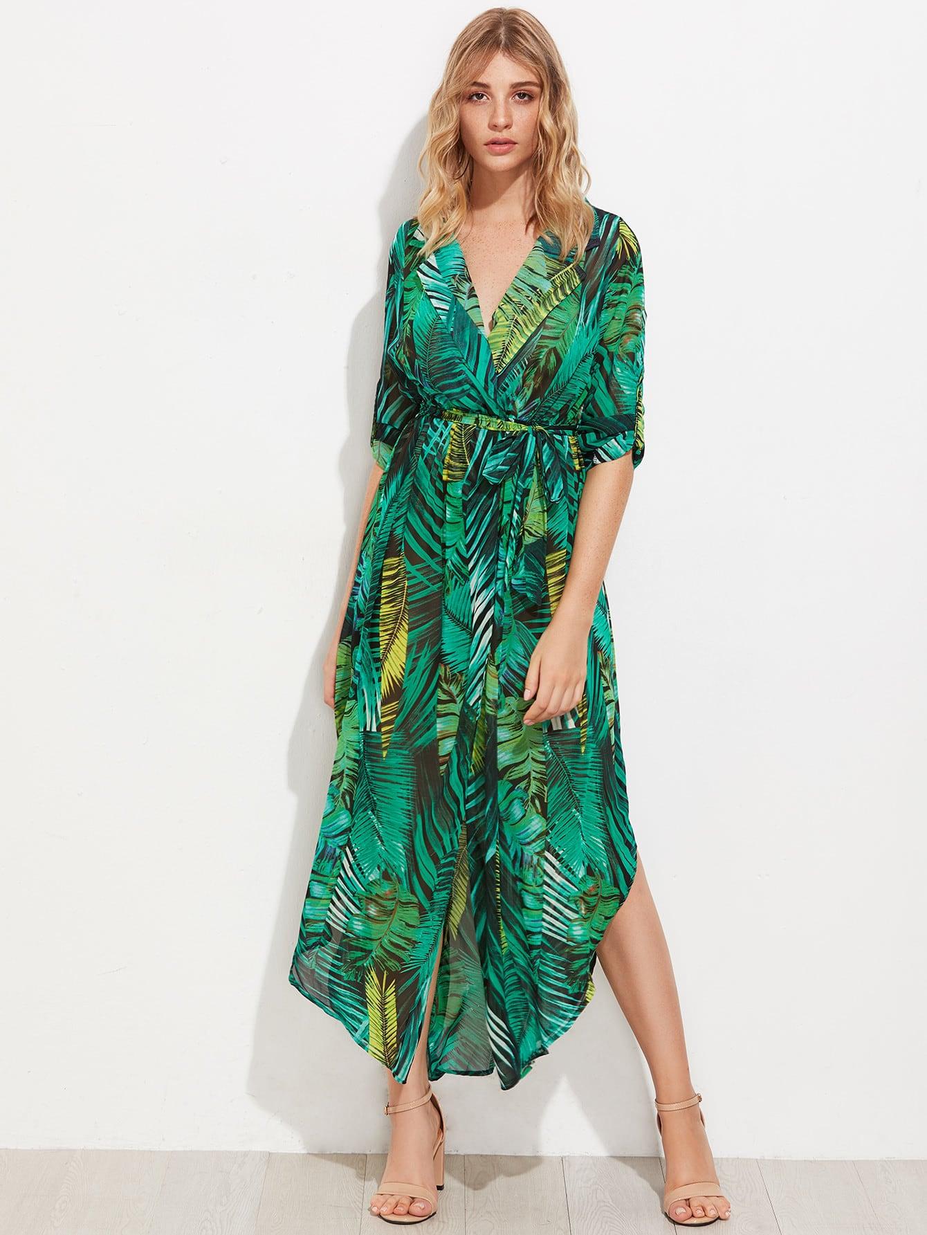 Allover Palm Leaf Print Curved Hem Shirt Dress pocket patch curved hem snake skin print shirt