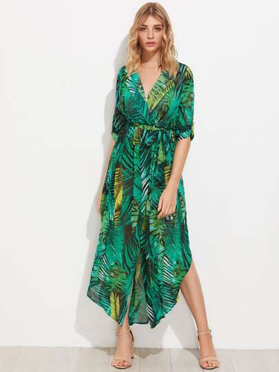 Allover Palm Leaf Print Curved Hem Shirt Dress