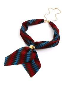 Geometric Patchwork Neckerchief With Chain