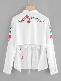 Flower Embroidered Hidden Placket Open Back Blouse