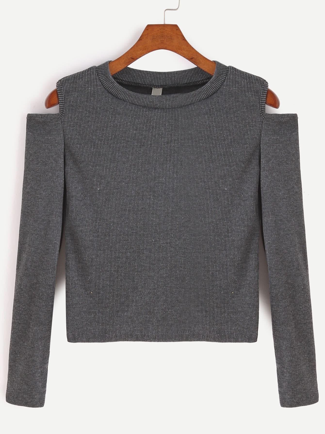 Dark Grey Open Shoulder Crop T-shirt RTSH161019102