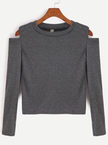 Тёмно-серый открытый футболка с плечом