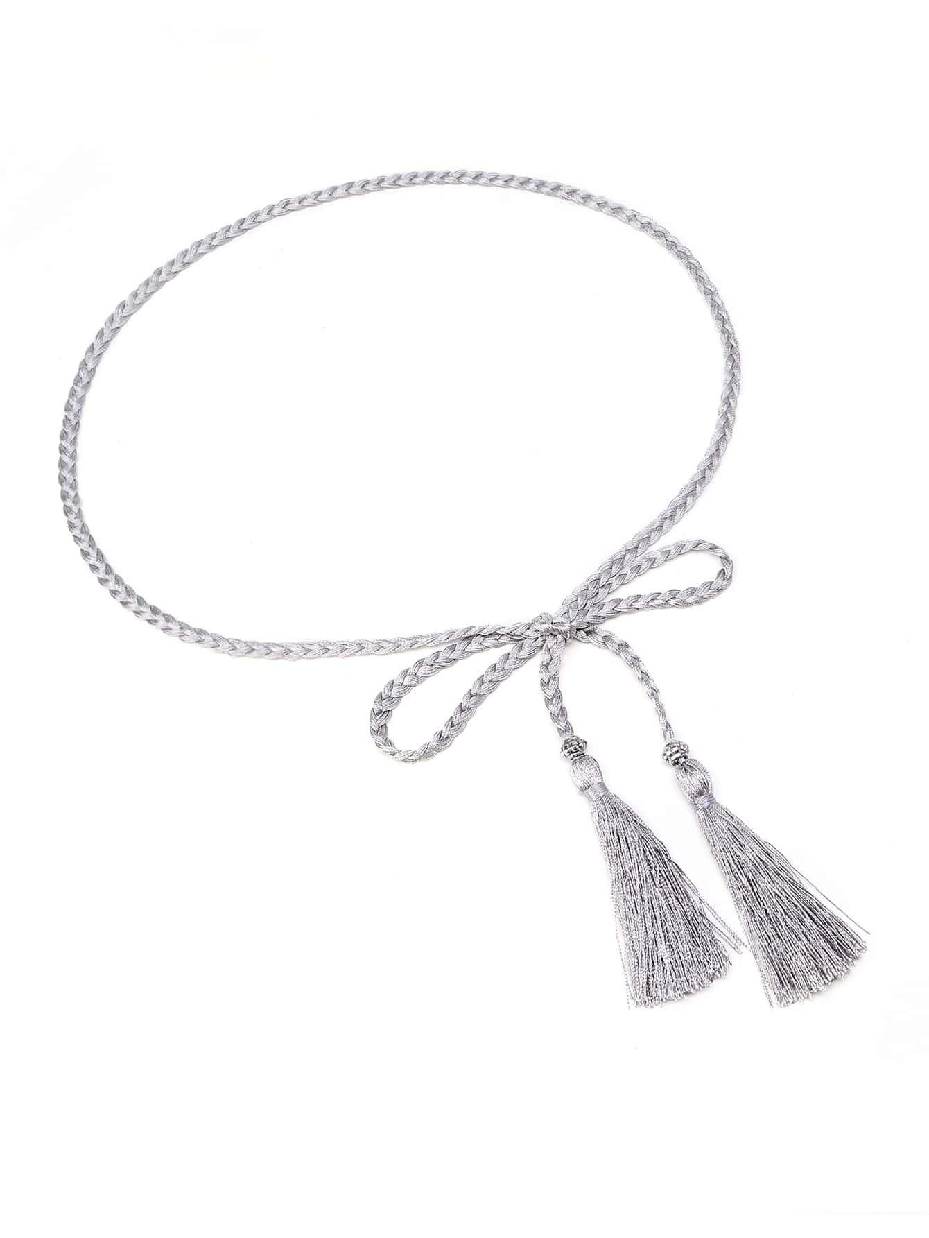 Фото Tassel Tie Braided Waist Belt. Купить с доставкой