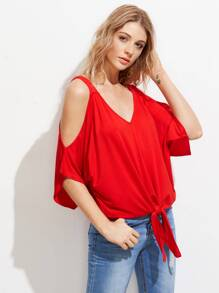 Open Shoulder Knot Front Tee