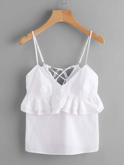 Tiered Frill Trim Lace Up Cami Top