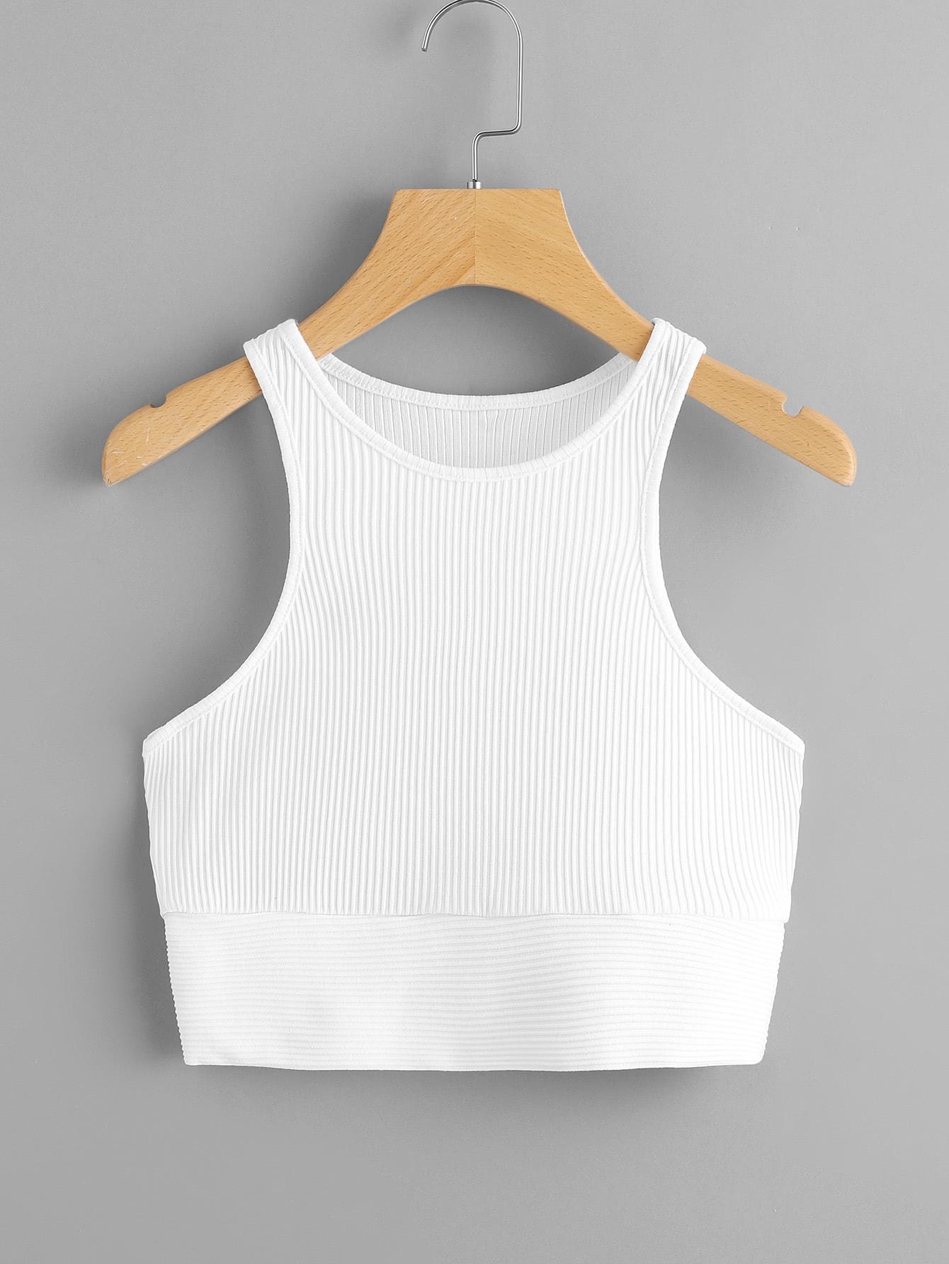 Rib Knit Crop Tank Top rib knit halter top