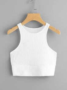 Rib Knit Crop Tank Top