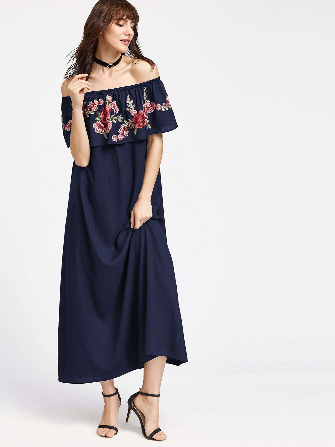 Фото Embroidered Rose Patch Frill Bardot Dress. Купить с доставкой