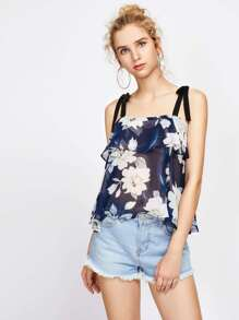 Flounce Layered Tie Strap Florals Chiffon Cami Top