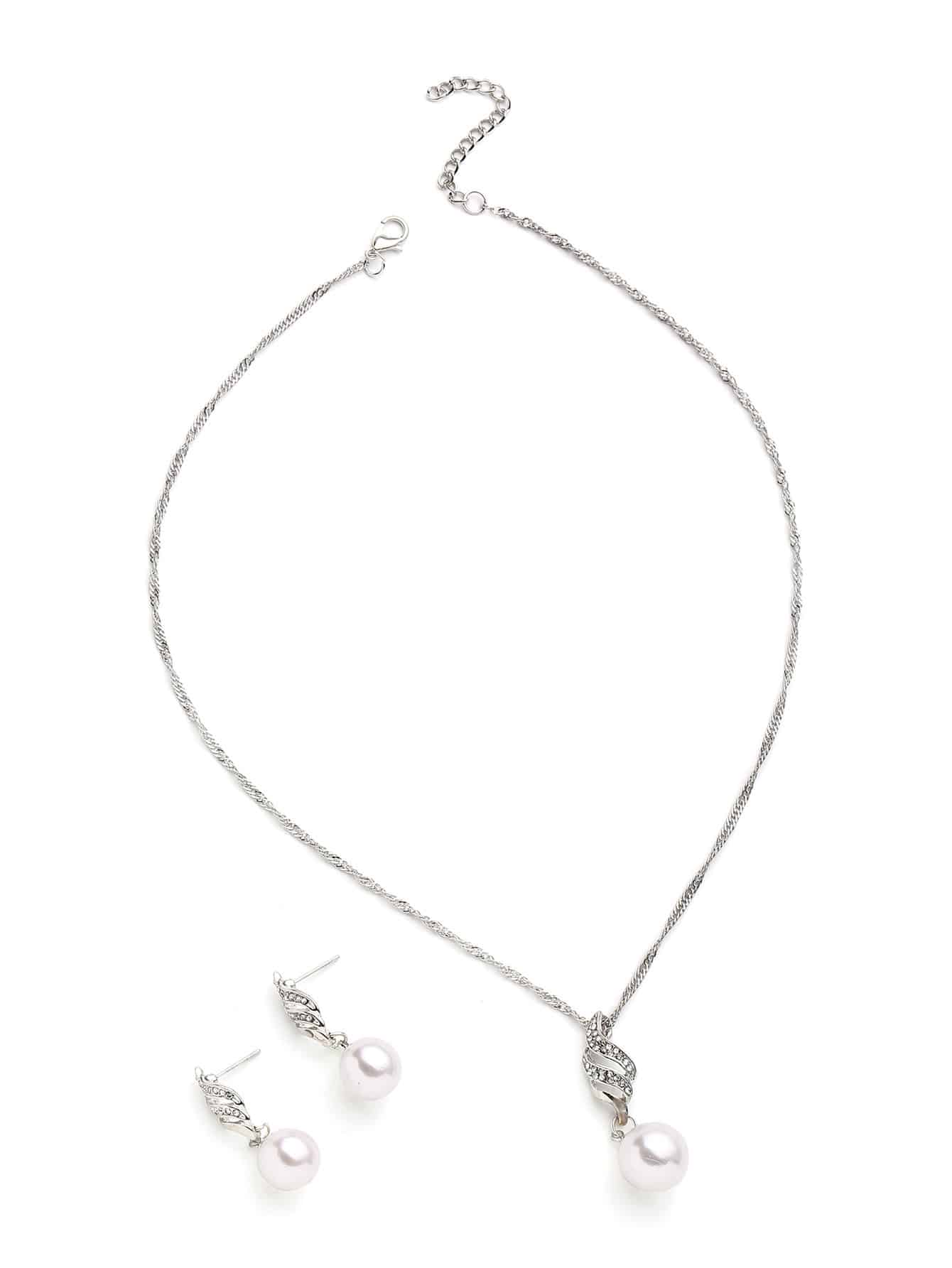 Faux Pearl Pendant Necklace With Drop Earrings resin faux tusk pendant necklace