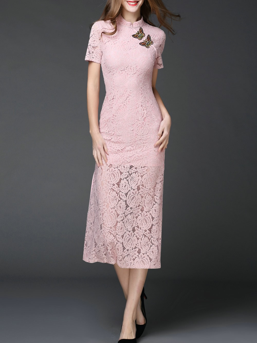 Butterfly embroidered split lace dress shein sheinside