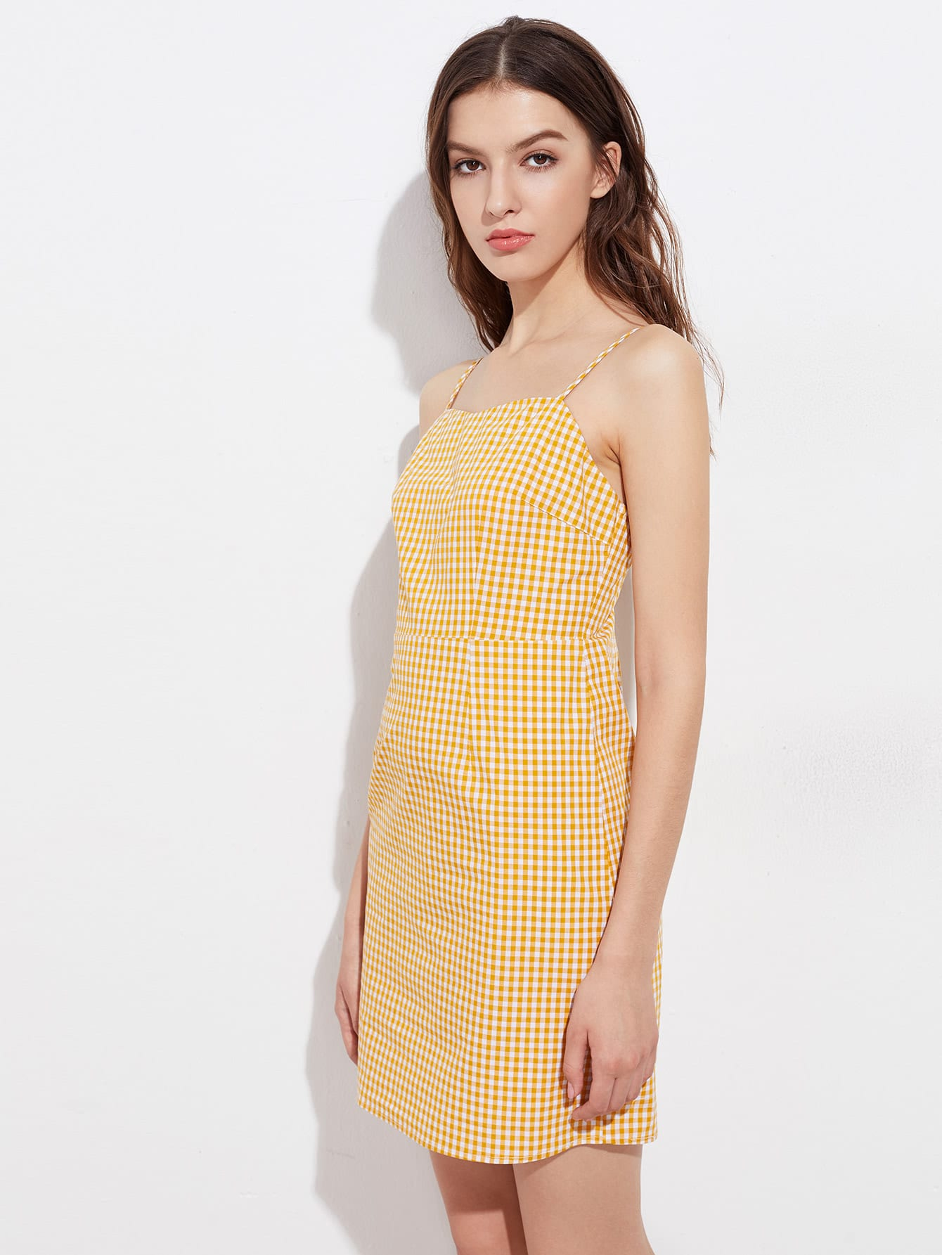Yellow gingham dress women