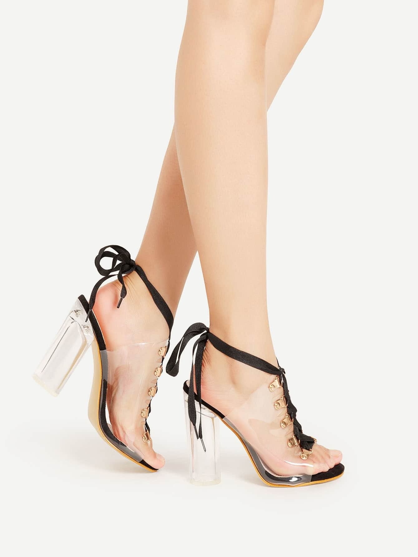 Фото Clear Design Lace Up Block Heeled Sandals. Купить с доставкой