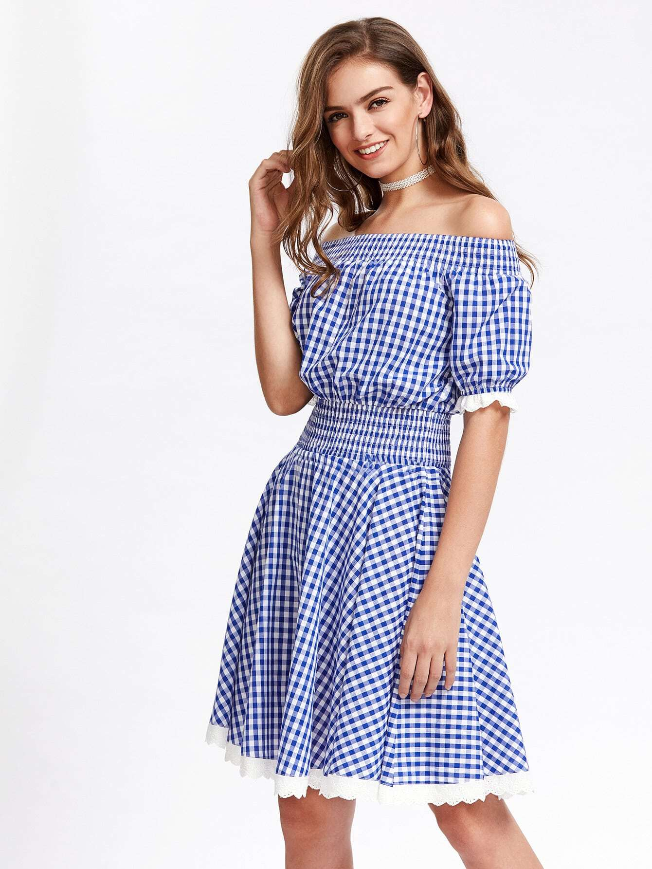Фото Embroidered Frill Trim Smocked Gingham Blouson Dress. Купить с доставкой